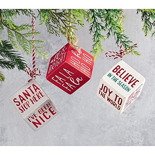 Mud Pie Wood Block Ornament (Be Merry)