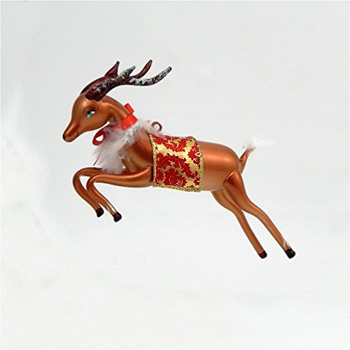 De Carlini Glass Ornament – Reindeer Leaping – Italian Ornament