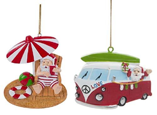 DHE Beachcombers Summer Themed Christmas Ornaments, Umbrella Beach Santa and Retro Surfboard Santa in Van