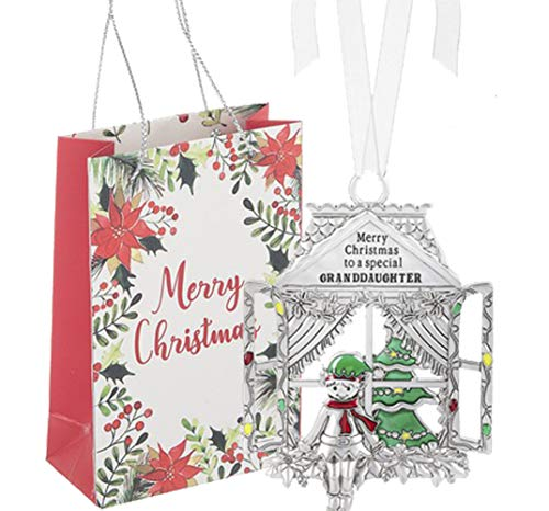 Ganz U.S.A., LLC Window Pane Elf Ornaments Merry Christmas to a Special Granddaughter for Holiday Christmas Tree Decor Gifts 2019 from The Grandparents Presented in a Merry Christmas Holiday Bag
