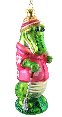Holiday Lane Glass Golfing Alligator Ornament