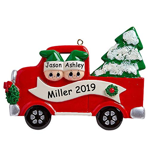 Rudolph and Me Personalized Family of 2 Couple in Red Pick-Up Truck on Tree Day Christmas Ornament Holiday Tree Decoration with Custom Names
