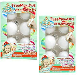 TreeMendous Christmas Tree Ornament Decorating Refill Kit – Includes 12 Blank Ball Ornaments For DIY Craft Activities