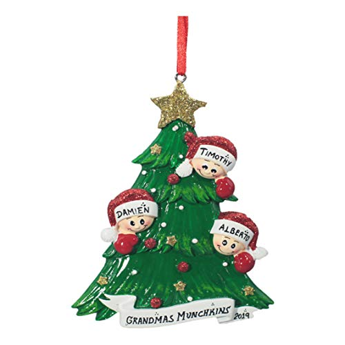 Personalized Christmas Tree Decoration Ornament 2019 – Traditional Home Décor – New Year Santa Gift – Holiday Fun w Hanging Hook – Christmas Tree with 3 Faces – Free Customization