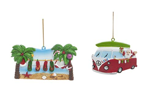 DHE Beachcombers Summer Themed Christmas Ornaments, Flip Flops and Surfboard Santa