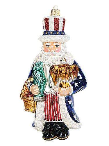 Pinnacle Peak Trading Company Uncle Sam Santa Polish Glass Christmas Ornament Patriotic Tree Decoration USA