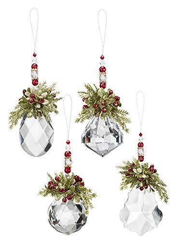 Ganz Mistletoe Krystal Beaded Ornaments Set of 4 Assorted