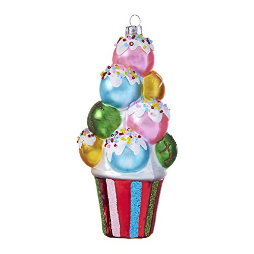 RAZ Imports Blown Glass Christmas Ornament, Colorful Donut Hole Stack, 6.75″ H