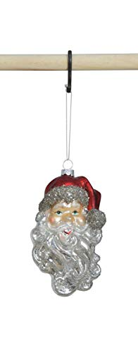 Creative Co-op Glass Santa Head Ornament, Silver