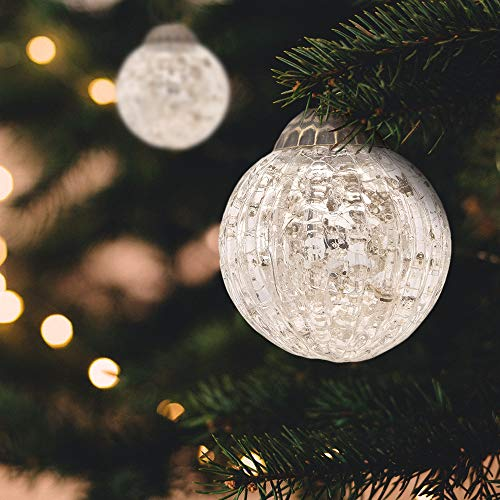 Luna Bazaar Large Mercury Glass Ball Ornaments (3-Inch, Silver, Mona Design, Set of 6) – Great Gift Idea, Vintage-Style Decorations for Christmas, Special Occasions, Home Decor and Parties