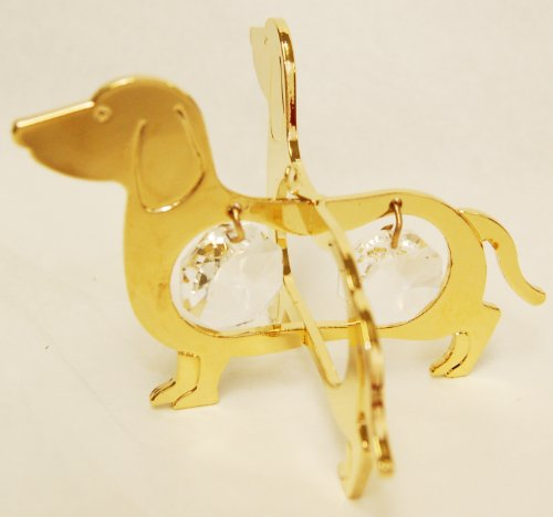 24K Gold Plated Hanging Sun Catcher or Ornament. Dachshund with Two Clear Swarovski Austrian Crystals