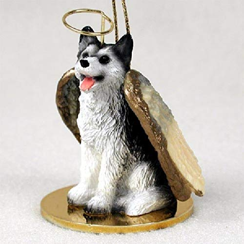 Siberian Husky Black and White with Brown Eyes Angel Ornament