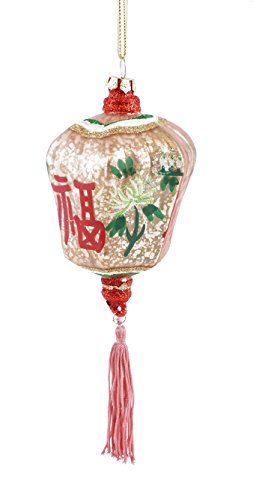 Creative Co-op Chinese Pink Lantern with Tassel Hanging Christmas Ornament
