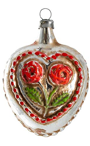 Marolin Rose Heart Knobs and Star MA2011122 Glass Christmas Ornament w/Gift Box
