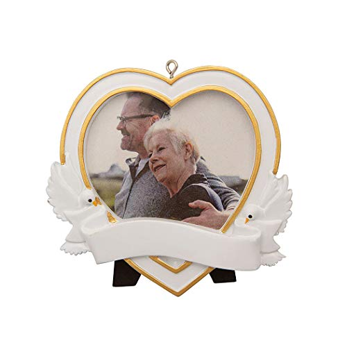 Personalized Memorial Heart Picture Photo Frame Christmas Tree Ornament 2019 – Gold Dove Ribbon Display Milestone Deceased Year Angel Wing Heart Pray God Heaven Memory Milestone – Free Customization