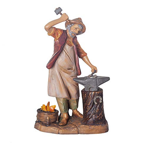 Fontanini, Nativity Figure, Orion The Blacksmith, 7.5″ Scale, Collection, Handmade in Italy, Designed and Manufactured in Tuscany, Polymer, Hand Painted, Italian, Detailed