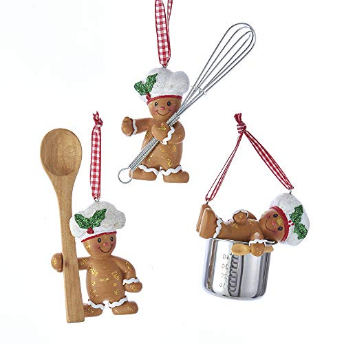 Kurt Adler Cute Chef Gingerbread 3.5″ (3 Styles) Set of 3 Resin Ornaments for Home Décor