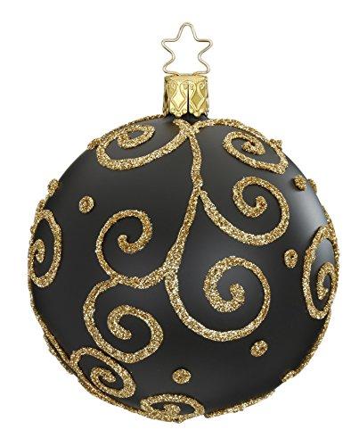 Inge-glas Kugel Ball 10 cm Barocco Black 20240T010 German Christmas Ornament