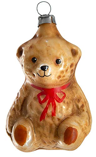 Marolin Little Teddy Bear Sitting MA2011120 Glass Christmas Ornament w/Gift Box