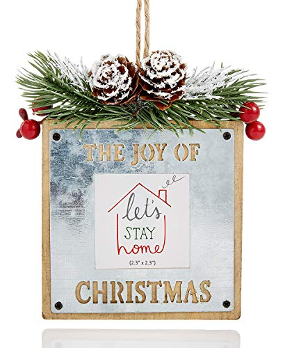 Holiday Lane The Joy of Christmas Tin and Wood Picture Frame Ornament
