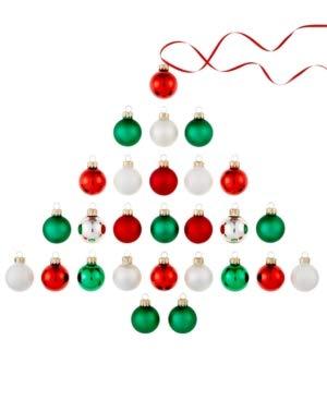 Holiday Lane Set of 27 Glass Mini Ball Ornaments