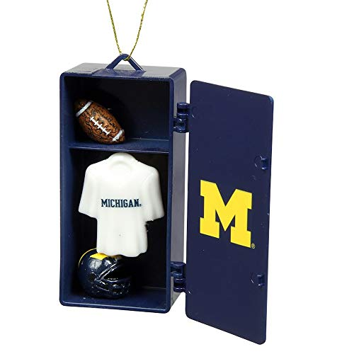 Licensed NFL, NCAA & NHL Locker Ornaments with Working Locker Door and Miniature Player Gear Inside (NCAA-Michigan Wolverines)