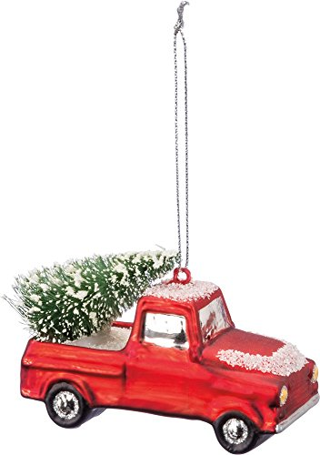 Primitives by Kathy Red Snow Truck Hauling Tree Glass Ornament 3.5″ x 2″
