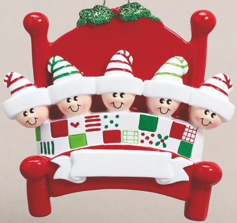 Bed Head Family of Five(5) Personalized Christmas Ornament-Free Personalization and Gift Bag Included