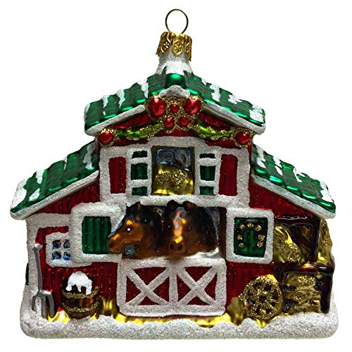 Pinnacle Peak Trading Company Equestrian Horse Stable Polish Glass Christmas Tree Ornament Decoration Poland
