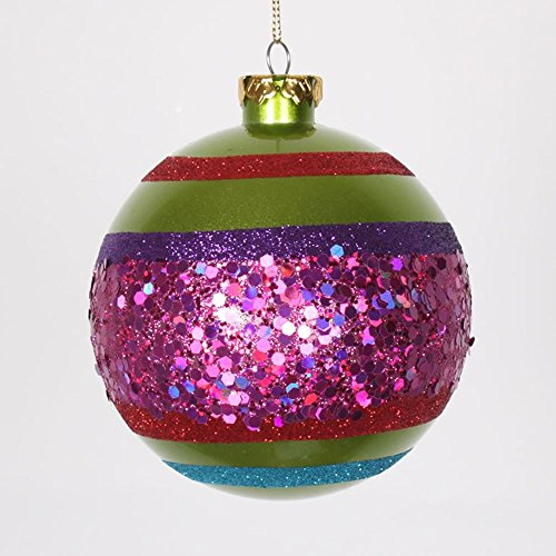 Vickerman 4ct Lime Green and Cerise Pink Glitter Shatterproof Christmas Ball Ornaments 4″ (100mm)