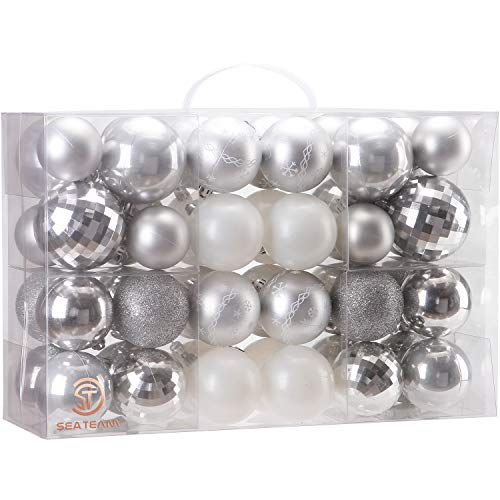 Sea Team 48 Pieces of Assorted Christmas Ball Ornaments Shatterproof Seasonal Decorative Hanging Baubles Set with Reusable Hand-held Gift Package for Holiday Xmas Tree Decorations, Silver