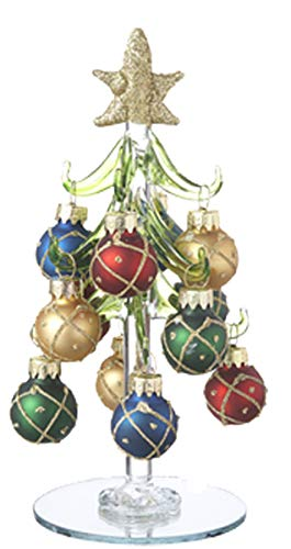 Ganz Miniature 6 inch Glass Christmas Tree with 12 Glitter Silver or Gold Ornaments with Mirrored Base (Gold Presents)