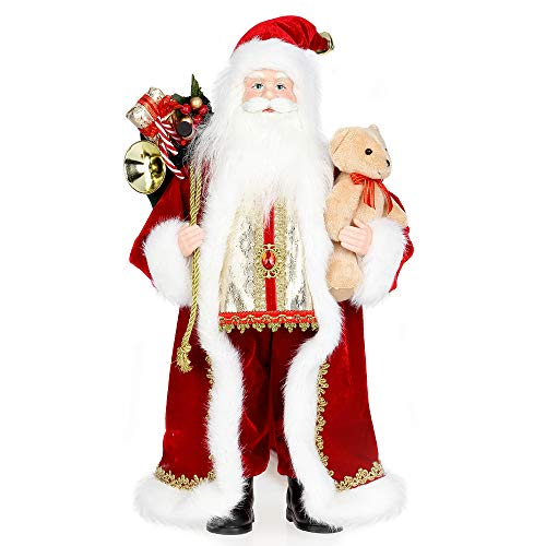 ZOGIN Christmas Santa Claus,18″ Santa Claus Ornaments Decorations Traditional Standing Father Christmas Santa Claus Figure Xmas Decoration