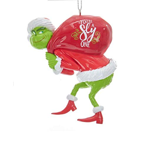 Johnson Smith Co. – KURT S ADLER INC Grinch with Red Sack Christmas Tree Ornament – Dr Suess Holiday Decoration