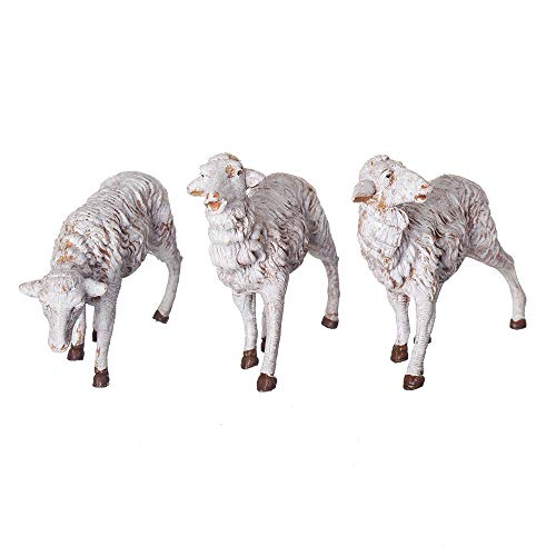 Fontanini, Nativity Figure, 3-pc White Sheep Set, 7.5″ Scale, Collection, Handmade in Italy, Designed and Manufactured in Tuscany, Polymer, Hand Painted, Italian, Detailed