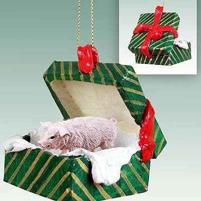 Pig Gift Box Christmas Ornament Pink – DELIGHTFUL! by Conversation Concepts
