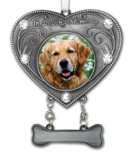 BANBERRY DESIGNS Dog Memorial Photo Ornament – in Loving Memory Pet Keepsake – Heart Shaped Picture Opening with Crystals – Dog Sympathy Gift – Dog Remembrance – Dog Bereavement