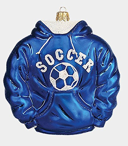 Pinnacle Peak Trading Company Blue Soccer Hoodie Polish Mouth Blown Glass Christmas Ornament Sports Decoration