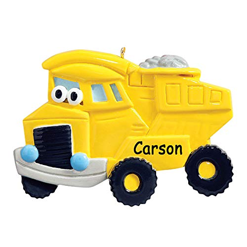 Rudolph and Me Personalized Yellow Dump Truck Character Christmas Ornament Tree Decoration with Custom Name