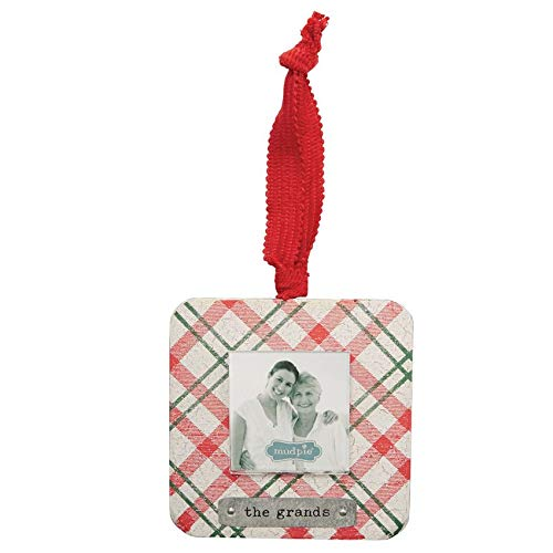 Mud Pie The Grands Plaid Pattern Wooden Christmas Photo Frame Ornament