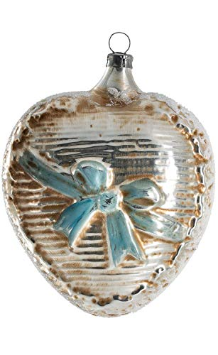 Marolin Big Heart with Blue Loop MA2011206 Glass Christmas Ornament w/Gift Box