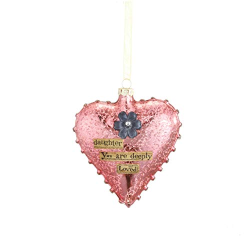 DEMDACO Daughter Heart Floral Pink 5 x 4 Inch Blown Glass Hanging Holiday Figurine Ornament