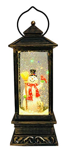 SPARKS Christmas Decorative Lanterns: Holiday Lighted Up Swirl Dome Snow Globe with Liquid Glitter. Christmas Lantern Snow Globe Snowman Home Christmas Decorations