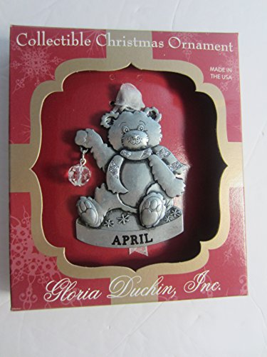 Gloria Duchin Jewelry For Your Tree Christmas APRIL BIRTHSTONE BEAR Ornament