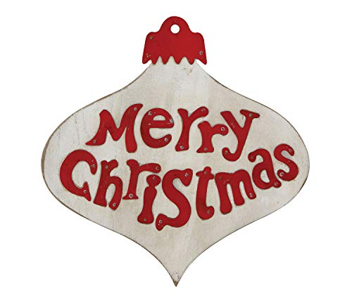 Creative Co-op Merry Christmas Hemlock Wood & Metal Ornament Shaped Décor Wall Art, Red