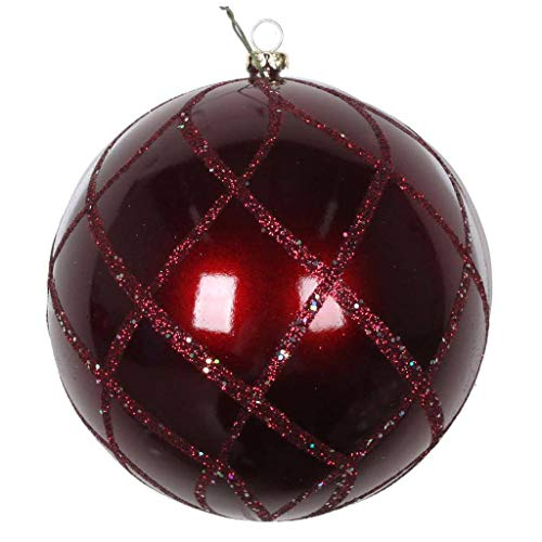 Vickerman 613511-4″ Burgundy Candy Glitter Net Ball Christmas Tree Ornament (3 pack) (MT198065D)