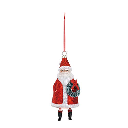 DEMDACO Santa Claus 3 x 6.5 Inch Blown Glass Decorative Christmas Ornament