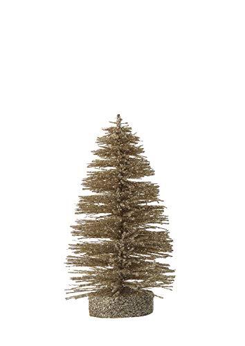 Creative Co-op Small Gold Glitter Bottle Brush Stump Base Tree Figurine, 5.5″
