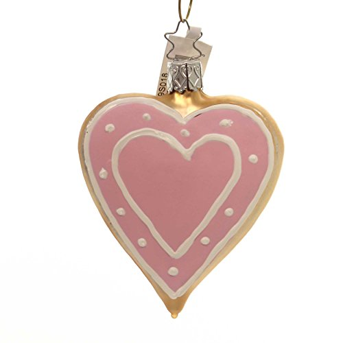 Inge-Glas Pink Frosted Heart 10099S018 German Glass Christmas Ornament