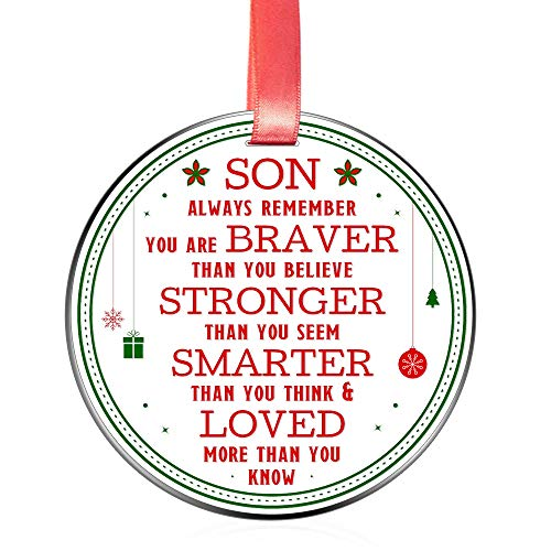 Elegant Chef Christmas Ornament for Son- Always Remember You are Braver Stronger Smarter- Motivational and Inspirational Gift from Mom Dad- Xmas Holidays Decoration- 3 inch Flat Stainless Steel